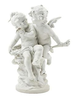* A Bisque Porcelain Figural Group Height 20 inches.