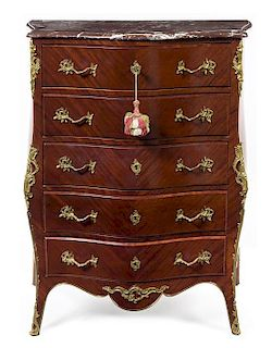 * A Louis XV Style Gilt Bronze Mounted Kingwood Tall Chest Height 45 x width 36 1/2 x depth 21 inches.