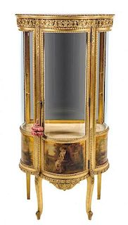 * A Louis XV Style Giltwood and Vernis Martin Vitrine Height 57 1/2 x width 27 x depth 17 inches.