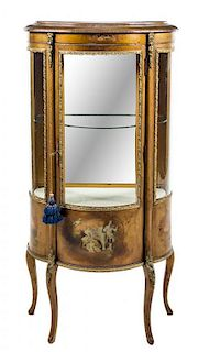 * A Louis XV Style Vernis Martin Vitrine Height 56 x width 26 1/2 x depth 13 1/2 inches.