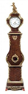 * A Louis XV Style Gilt Bronze Mounted Parquetry Tall Case Clock Height 93 inches.