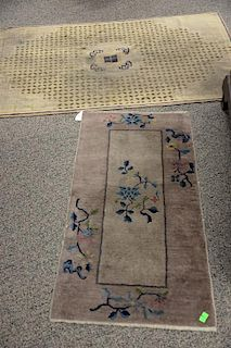 """Three Chinese Oriental scatter rugs (one worn).  (3'2"""" x 5'6""""), (2' x 3'10""""), and (2' x 3'10"""")"""