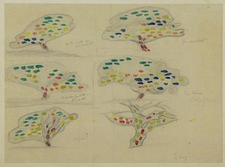 "SIGNAC, Paul. Watercolor and Pencil ""Studies of a"