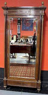 Quality 19th C Beveled Mirror Front Mahogany
