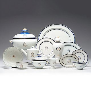 Chinese Export Armorial Partial Porcelain Service