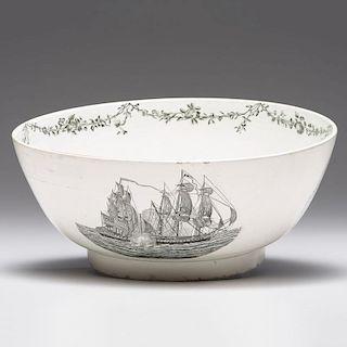 Creamware <i>Numa</i> Ship Punch Bowl