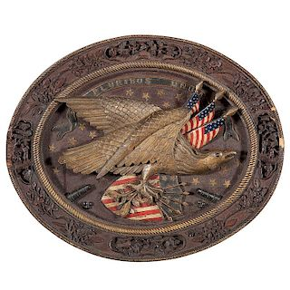 China Trade Carved Patriotic Eagle Plaque