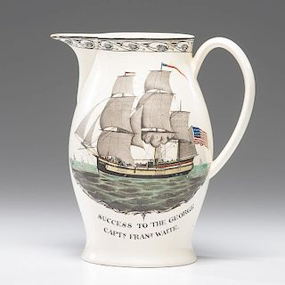 Historical Liverpool Creamware Pitcher with American Sailing Ship