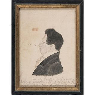 Wash and Ink Profile Miniature Portrait of James Goodwin