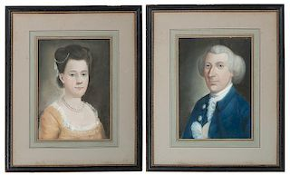 Pastel Portraits of a Husband and Wife, Attributed to Benjamin Blyth (American, 1746-1811)