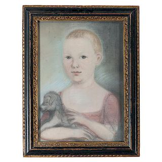 Pastel Portrait of Young Boy with Dog Attributed to Benjamin Blyth (1746-1811)