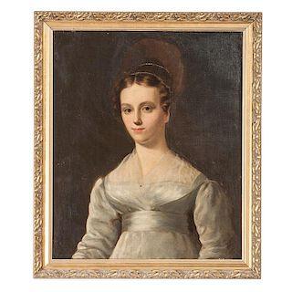 American Folk Art Portrait of a Woman