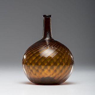 Midwestern Amber Glass Swirl Bottle