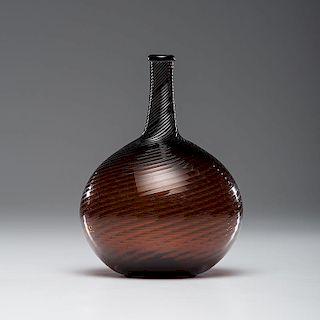 Midwestern Deep Amber Glass Swirl Bottle