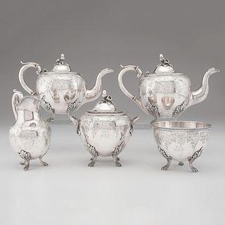 Boston Coin Silver Tea Service, Newell Harding