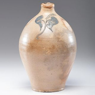 New York Stoneware Jug with Engraved Flower