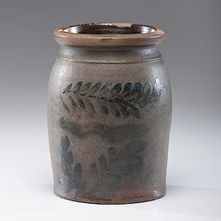 Stoneware Jar with Cobalt Sprigs