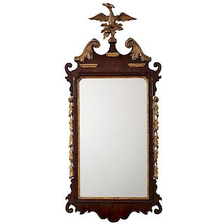 Fine Chippendale Mahogany Mirror with Gilt Drapes and Phoenix