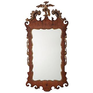 Chippendale Mahogany Mirror with Gilt Phoenix