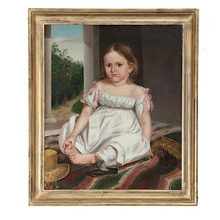 American Portrait of a Barefoot Child Attributed to James Thomas Poindexter
