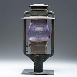 Tin Street Light with Purple Glass Shade