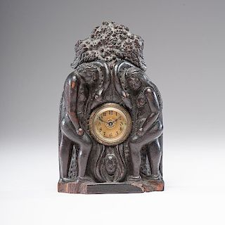 Folk Art Carved Wood Clock Case