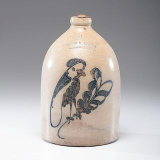 <i>Arthur M. Eastman</i> Stoneware Jug with Parrot Decoration