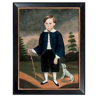 Attributed to Joseph Goodhue Chandler, Folk Art Portrait of a Young Boy with Dog