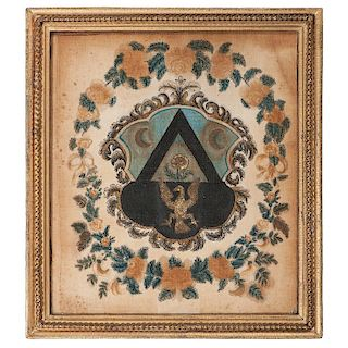 American Armorial Shield on Velvet with Eagle
