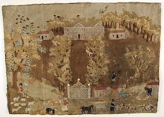 Early Southern Embroidered Pictorial Textile