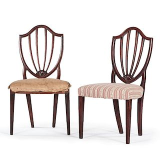 American Hepplewhite Shield Back Side Chairs