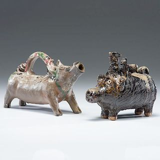 Billy Ray Hussey Handled Pig Vessel, Plus