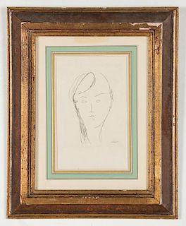 "Amedeo Modigliani (Italian, 1884-1920) ""Tete de Femme II"""