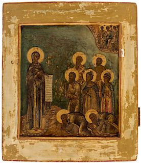 A RUSSIAN ICON OF THE MOSCOW BOGOLIUBSKAYA MOTHER OF GOD, SECOND HALF OF THE 18TH CENTURY