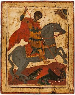 A GREEK ICON OF ST. GEORGE SLAYING THE DRAGON, CIRCA 1700