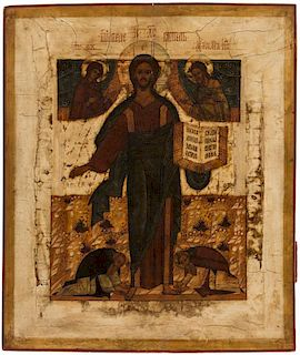 A RUSSIAN ICON OF THE SAVIOUR OF SMOLENSK, 18TH CENTURY