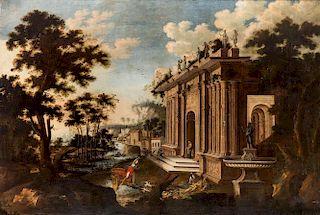 A MONUMENTAL ITALIAN 17TH-18TH CENTURY CAPRICCIO PAINTING