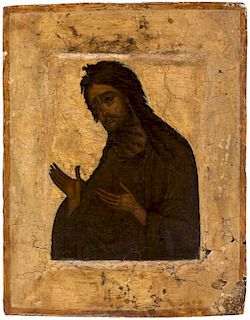 A RUSSIAN ICON OF ST JOHN THE BAPTIST, MOSCOW, 17TH CENTURY