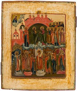A RUSSIAN ICON OF THE POKROV MOTHER OF GOD, MOSCOW SCHOOL, CIRCA 1750
