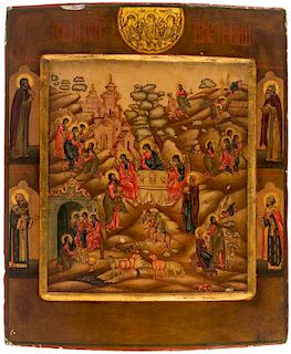 A RUSSIAN ICON OF THE HOSPITALITY OF ABRAHAM WITH SELECTED SAINTS, 19TH CENTURY