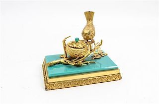 * A French Gilt Bronze and Opaline Glass Inkwell