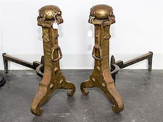 A Pair of Arts and Crafts Andirons Height 18 inches.