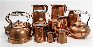 A Collection of Brass and Copper Articles Height of tallest 9 3/4 inches.