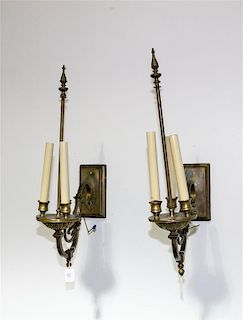 A Pair of Neoclassical Style Three-Light Sconces Height 24 inches.