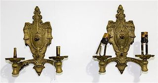 A Pair of Neoclassical Brass Two-Light Sconces Height 11 1/4 inches.