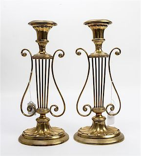 A Pair of Mottahedeh Brass Candlesticks