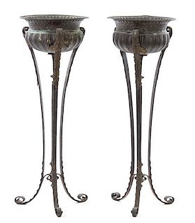 A Pair of Neoclassical Iron and Tole Jardinieres