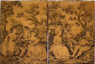 A Group of Two Tapestries Height of taller 36 x width 26 inches.