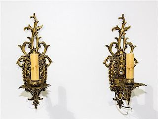 A Pair of Brass Sconces Length 12 1/2 inches.