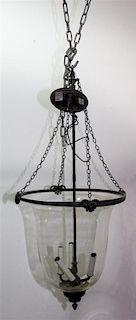A Metal Hanging Pendant Fixture Diameter 15 inches.